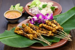 Satay is a traditional Indonesian food found on many Lembongan menus