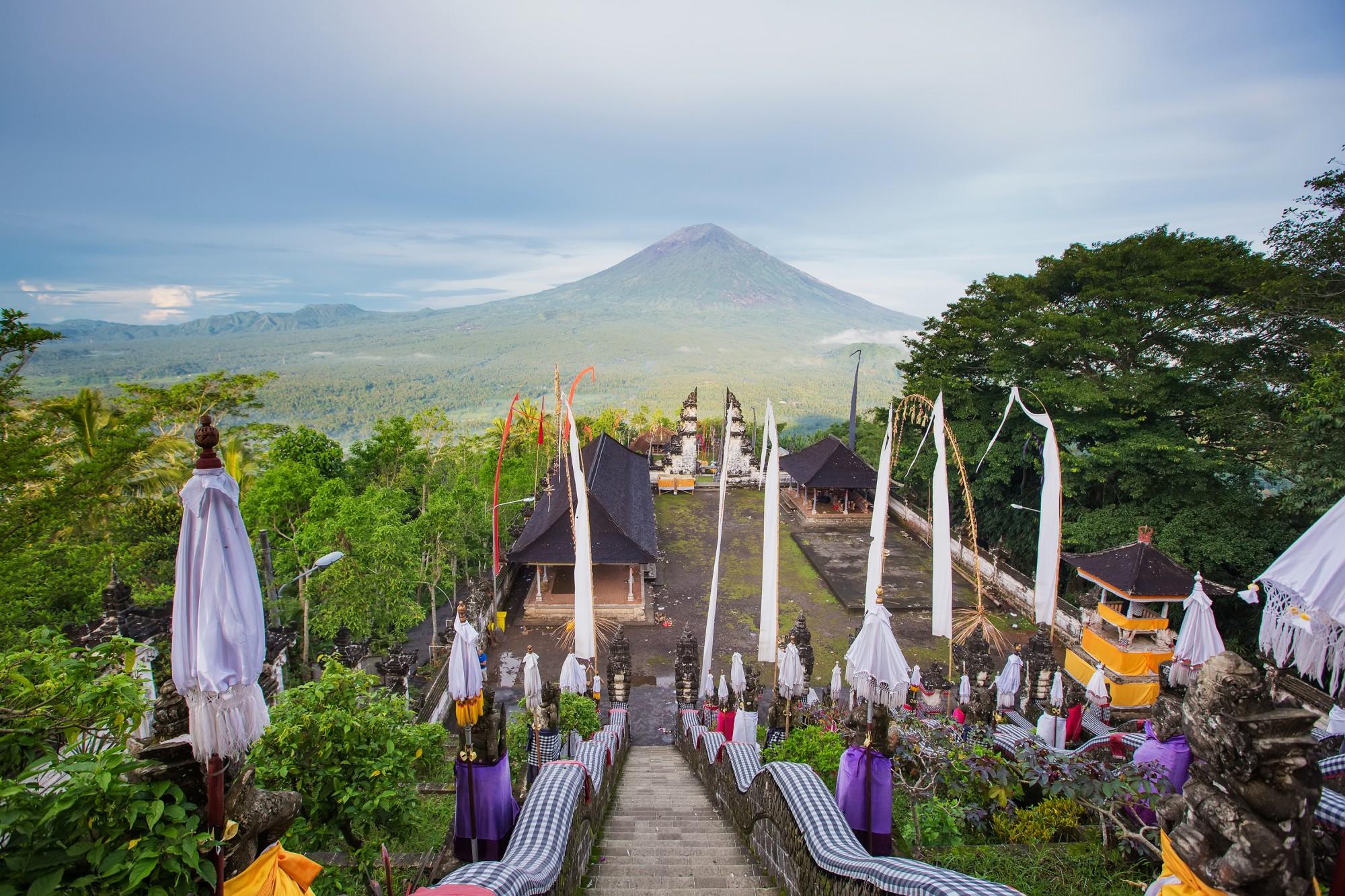 Agung volcano Bali Indonesia. View from pura Lempuyang
